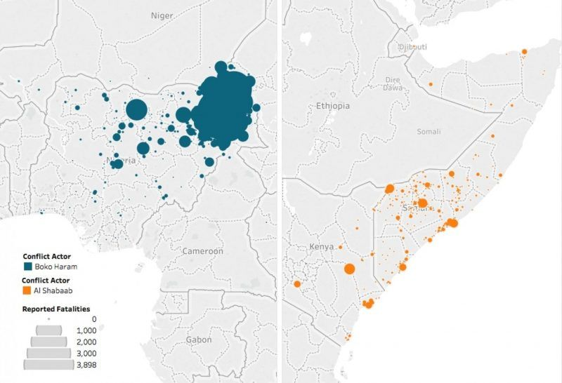 Figure 3: Reported fatalities stemming from conflict involving al-Shabab and Boko Haram deaths, August 2006 to August 2017. Data and figure: ACLED