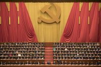 Chinese President Xi Jinping, center, presides over the opening ceremony of the 19th Party Congress, held at the Great Hall of the People in Beijing on Wednesday. (AP)