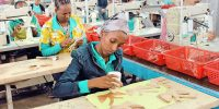 Employees of shoe manufacturing park at work in Addis Ababa