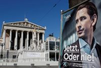 An election campaign poster with Sebastian Kurz of the People's Party near the Parliament in Vienna on Monday. Credit Heinz-Peter Bader/Reuters