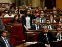 Inés Arrimadas, durante su intervención este viernes en el Parlament. Reuters.