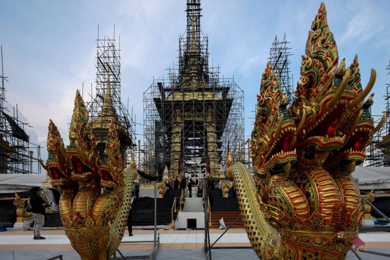 Sculptures and scaffolding at the site for King Bhumibol Adulyadej's cremation this week in Bangkok. The government is reported to have spent between $30 million and $90 million on preparations for the five-day ceremony. Athit Perawongmetha/Reuters