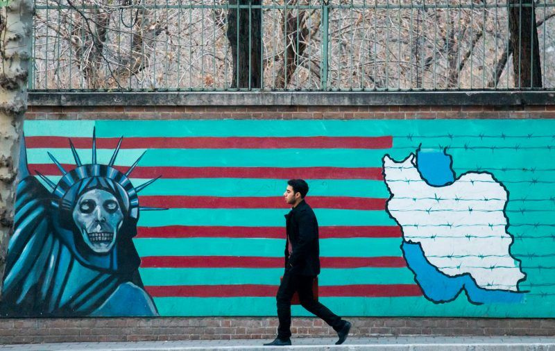 Eric Lafforgue/Art in All of Us/Corbis via Getty Images. A mural on the wall of the former US embassy, Tehran, 2015