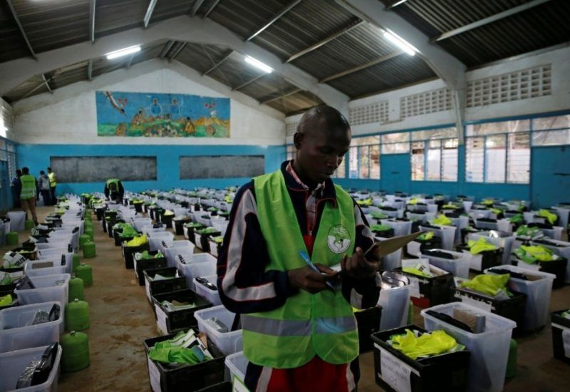An election official prepares election material at an IEBC center in Nairobi. (Reuters)