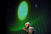 Rainer Weiss delivering a lecture on gravitational waves in 2016. Weiss, along with Kip Thorne and Barry Barish, was awarded the Nobel Prize in Physics on Tuesday. Credit Noah Berger/Reuters
