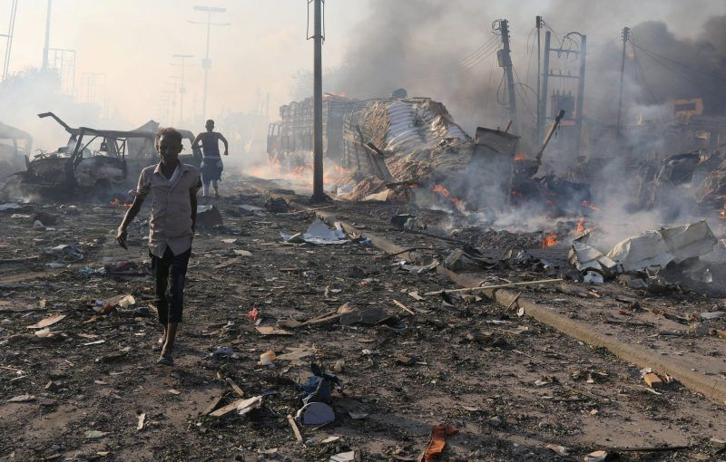 The aftermath of a truck bombing in Mogadishu, Somalia, on Oct. 14. Officials said the attack was carried out by the militant Islamic group Shabab. Feisal Omar/Reuters