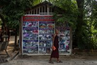 Lauren DeCicca/Getty Images. Propaganda depicting the alleged abuses of Buddhists by Muslims, displayed near the monastery of Ashin Wirathu, an anti-Muslim monk, Mandalay, Myanmar, May 31, 2017