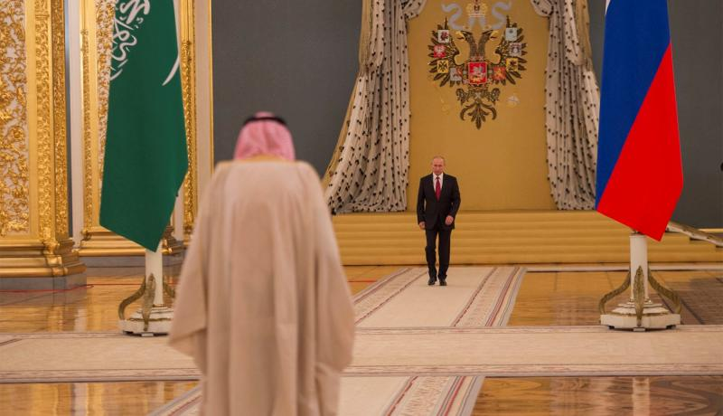 King Salman of Saudi Arabia meets with Russian President Vladimir Putin in Moscow on 5 October. Photo: Getty Images.