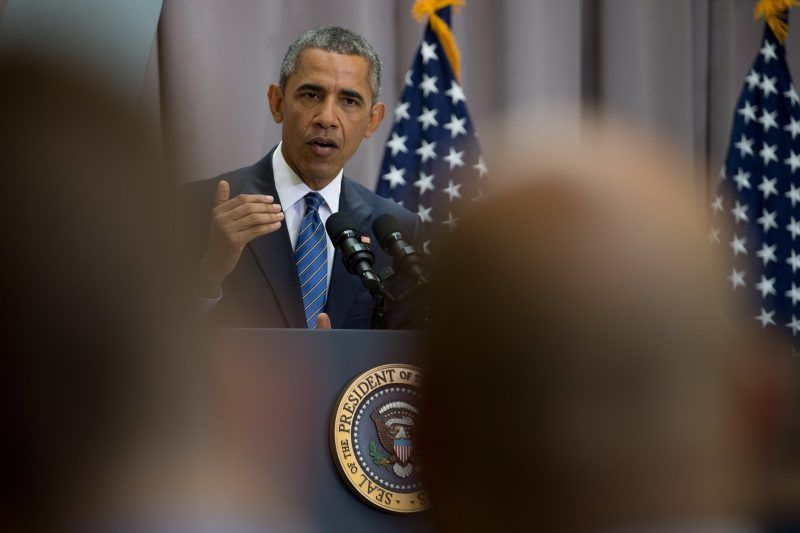 President Obama speaking about the Iran nuclear deal in 2015. Credit Stephen Crowley/The New York Times