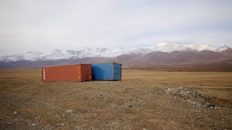 Chinese shipping containers sit abandoned on a remote plateau in Kyrgyzstan, one of the many countries through which China's Belt and Road Initiative will run, on 19 March 2015. Martin Saxer