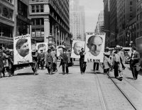 Communists marching in the May Day parade in New York in 1935. Credit Dick Lewis/New York Daily News, via Getty Images