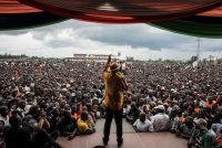 Andrew Renneisen/Getty Images. Opposition candidate Raila Odinga at a rally in Kisumu, Kenya, October 20, 2017