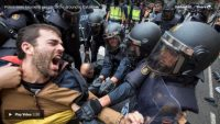 More than 760 people were injured in confrontations between police and voters during the Catalan independence referendum vote on Oct. 1, officials said. (Anonymous via Storyful)