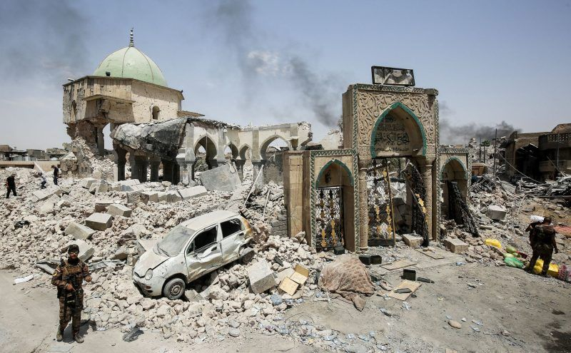 The Islamic State destroyed the 12th-century Great Mosque of al-Nuri in Mosul, Iraq, as international forces were closing in to liberate the city. Credit Ahmad Al-Rubaye/Agence France-Presse — Getty Images