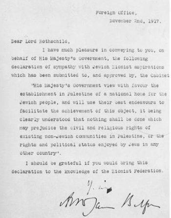 La Declaración Balfour, contenida en la carta original de Balfour a Rothschild.