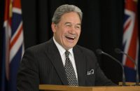 New Zealand First party leader Winston Peters addresses a news conference last month in Wellington, New Zealand. (Mark Mitchell/New Zealand Herald via Associated Press)