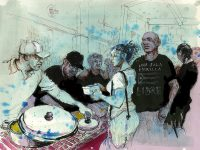 Molly Crabapple, 2017. People line up for food at the Centro de Apoyo Mutuo in Caguas.