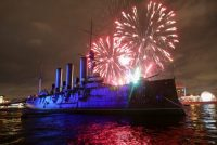 Anton Vaganov/Reuters. Fireworks exploding over the Aurora cruiser, which fired the first shot of the Russian Revolution, during celebrations for the Revolution's centenary, St. Petersburg, Russia, November 4, 2017