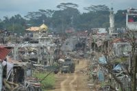 The main battle area in the southern city of Marawi on Oct. 25, after the Philippines's military proclaimed the fighting over against militants backed by the Islamic State. Credit Ted Aljibe/Agence France-Presse — Getty Images