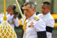 Thailand's King Vajiralongkorn is seen at the monument of King Rama I after signing a new constitution in Bangkok, Thailand on April 6, 2017. (Athit Perawongmetha/Reuters)