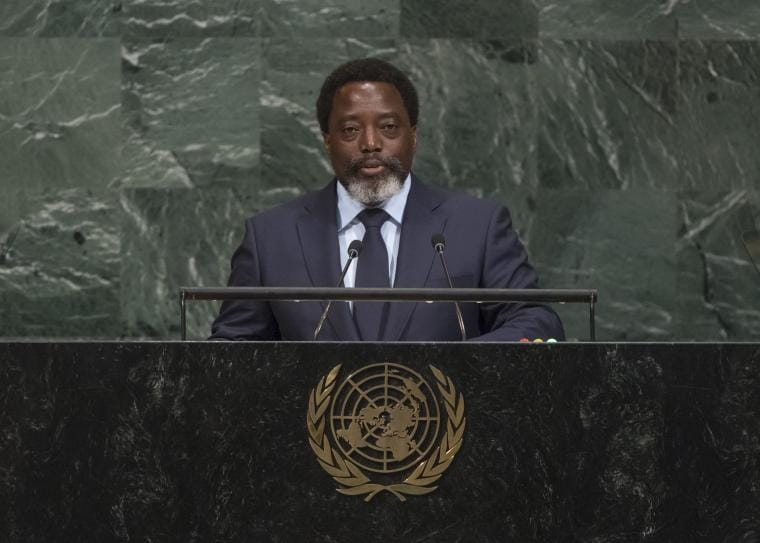 DR Congo's President Joseph Kabila as he addresses the UN General Assembly in New York, on 23 September 2017 UN