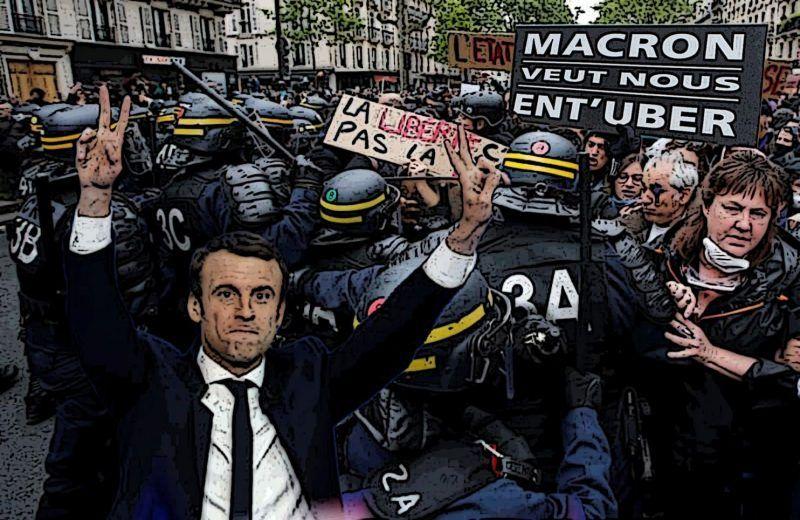 French President Emmanuel Macron pushes forward his reforms despite resistance. (Getty/WorldPost illustration)