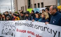 'It remains imperative to keep a close eye on the proceedings.' Protesters gather in front of an Istanbul courthouse, in support of the group of academics charged with terror offences. Photograph: Ozan Kose/AFP/Getty Images