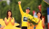 Team Sky's Chris Froome celebrates after winning his fourth Tour de France in July. Photograph: Adam Davy/PA