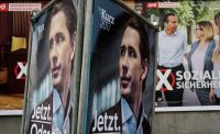Election campaign posters of Christian Kern, top candidate of Social Democratic Party of Austria (SPOe), and Foreign Minister Sebastian Kurz, top candidate of Austrian People's Party (OeVP), in Vienna in October. (Reuters)