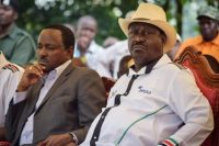 Kenya's opposition National Super Alliance (NASA) leader Raila Odinga, right, and Kalonzo Musyoka, left, former vice-president of Kenya, NASA principal and Wiper Democratic Movement leader. (Brian Ongoro, Agence France-Presse via Getty Images)