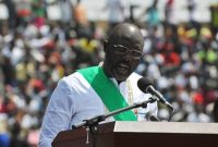 Liberia's new president, George Weah, speaks during his inauguration ceremony in Monrovia, Liberia, on Jan. 22. (Abbas Dulleh/AP)