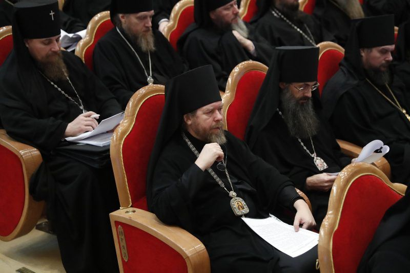 Bishop Tikhon Shevkunov at the opening session of the Bishops Council of the Russian Orthodox Church in November at the Cathedral of Christ the Savior in Moscow. Credit Artyom Geodakyan\TASS, via Getty Images