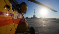 The Rosneft oil rig drills the first exploration well in the Khatanga Bay as part of the East Taimyr oilfield. Photo by Vladimir Smirnov\TASS via Getty Images.