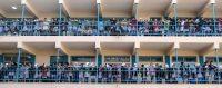 Ecolières d'un établissement financé par l'UNRWA. Gaza City, 22 janvier 2018. © MAHMUD HAMS