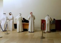 "Stateless men called the bidoon — Arabic for ""without"" — at a registry in Dubai. Credit MARWAN NAAMANI/Agence France-Presse — Getty Images"
