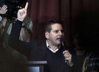 El candidato a la presidencia de Costa Rica y líder de Restauración Nacional, Fabricio Alvarado, en un discurso durante el conteo de votos el 4 de febrero Credit Jeffrey Arguedas/European Pressphoto Agency