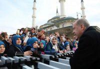 President Recep Tayyip Erdogan of Turkey speaks with supporters in Ankara on Feb. 2. (Murat Cetinmuhurdar/AP)