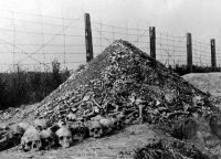 A pile of human bones and skulls at the Majdanek concentration camp on the outskirts of Lublin, Poland, in 1944. Credit Agence France-Presse — Getty Images