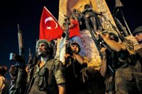 Soldiers and government supporters in Taksim Square, Istanbul, during the coup attempt on President Recep Tayyip Erdogan of Turkey, in July 2016.CreditEmrah Gurel/Associated Press