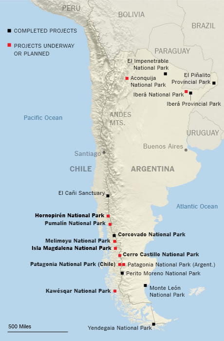 Protecting More Wilderness. Map shows the scope of Tompkins Conservation park projects in Chile and Argentina. Eight Chilean parks, shown in boldface, comprise the latest expansion of wilderness areas, an area roughly twice the size of Massachusetts.