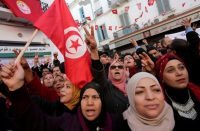 Women shout slogans during demonstrations on the seventh anniversary of the toppling of president Zine el-Abidine Ben Ali, in Tunis, Tunisia, on Jan. 14, 2018. (Youssef Boudlal/Reuters)