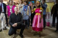 A refugee girl sings a song for Swiss Federal President Alain Berset at the Kutupalong Rohingya refugee camp in Cox's Bazar, Bangladesh, on Tuesday. (Peter Klaunzer/EPA-EFE/REX/Shutterstock)