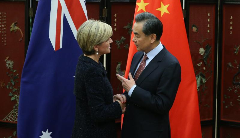 Australian Foreign Minister Julie Bishop meets Chinese Foreign Minister Wang Yi in Beijing. Photo: Getty Images.