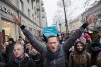 Russian opposition leader Alexei Navalny attends a Jan. 28 rally in Moscow. (AP)