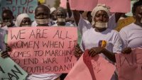 South Sudanese women march to end war on 9 December 2017. Women and religious groups are among the only groups still allowed to publicly protest and march in South Sudan. AFP/Stefanie Glinski