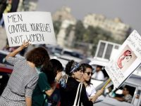Women protesting against sexual harassment in Cairo, in June 2014. Allegations of sexual misconduct have recently been directed at two prominent human rights lawyers in the country. Credit Amr Nabil/Associated Press