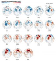 Winter Warming. The average temperature during winter months has risen sharply since the 1980s. Note: Each year represents a five-year average concluding that year. Winter months include December through March. | Source: European Reanalysis Interim. By The New York Times