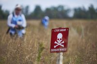 Workers clear a 270,000-square-meter field of mines on Sept. 7, 2017, in Mirna Dolyna, Ukraine. (Pierre Crom/Getty Images)
