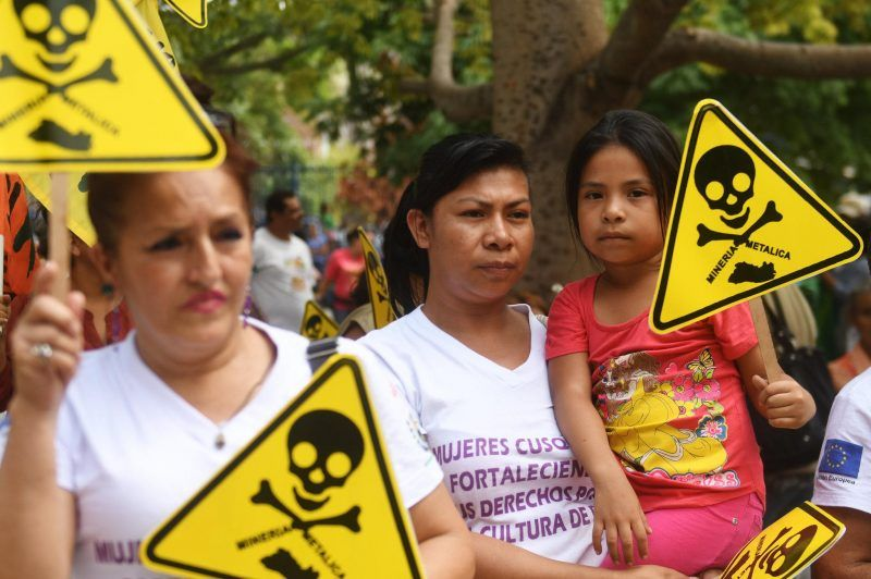 Salvadorans protested against mining outside the Legislative Assembly in San Salvador in 2017. El Salvador's Congress recently approved a law that prohibits mining for metals, on the grounds that it is an industry that creates negative impacts on the environment and on people's health.CreditMarvin Recinos/Agence France-Presse — Getty Images