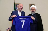 President Hassan Rouhani of Iran, right, receiving a soccer jersey from FIFA's president, Gianni Infantino, on Thursday. Credit Iranian Presidential Office European Pressphoto Agency